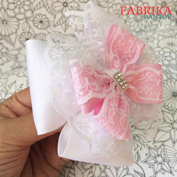 Красивый бант Анастасия белый с розовым