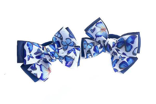 Бантик для волос Малышка синий с бабочками