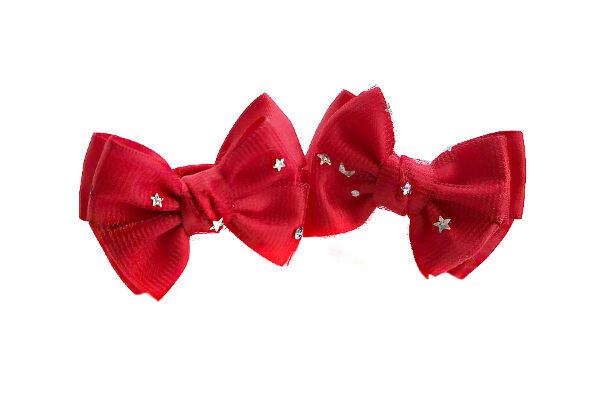 Бантик для волос Малышка красный фатин с звездами