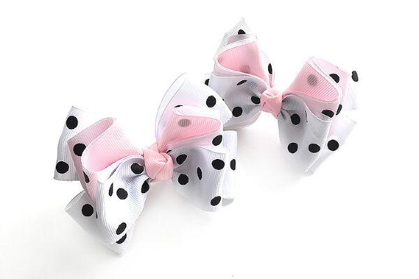 Бант для девочек Санта бело-розовый с горохом