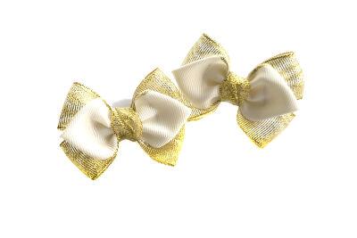 Бантик для девочек Нарспи золотой с белым
