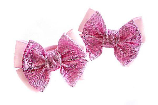 Бантик для волос Малышка розовый с серебром