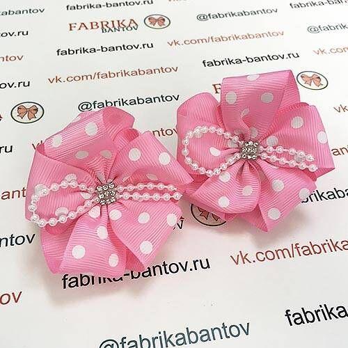 Детский бантик Волнушка розовый с белым горохом