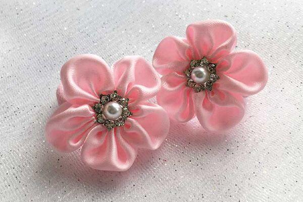 Детский бантик Незабудка розовый