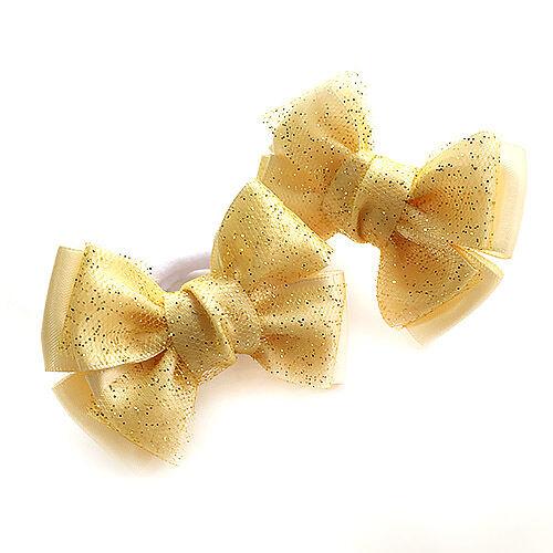 Бантик для волос Малышка золото с фатином