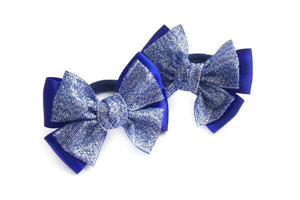 Бантик для волос Малышка праздничный синий