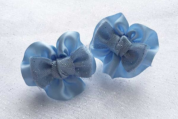 Детский бантик Анетт голубой с фатином