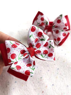 Бант Радость красный с белым вишня
