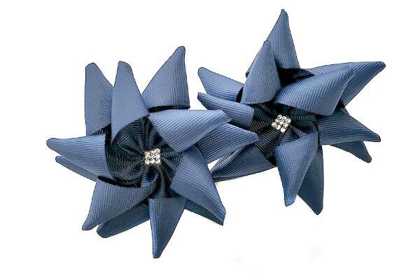 Бант для волос Ежик синий