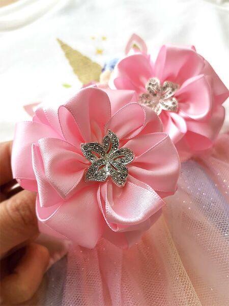 Бант для волос Тиффани розовый с цветком