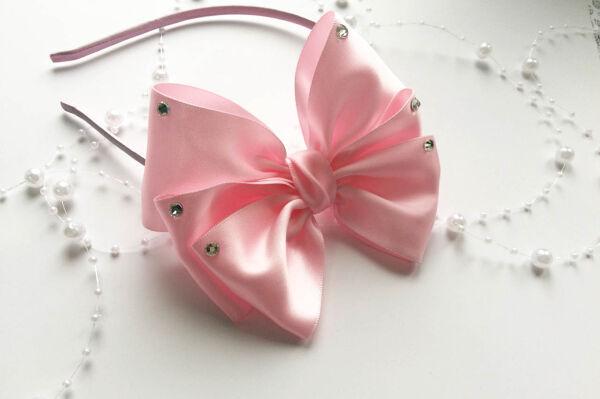 Ободок Элика розовый со стразами