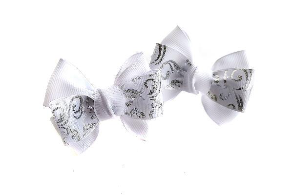 Бантик для девочек Кубаночка белый с узором серебро
