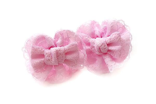 Детский бантик Анет 2.0 розовый с кружевом
