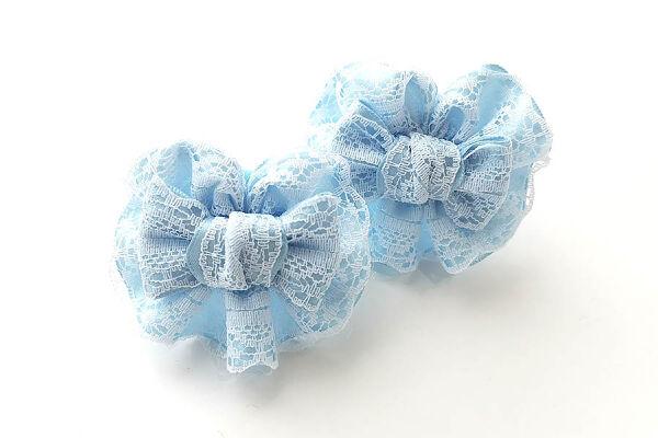 Детский бантик Анет 2.0 голубой с кружевом