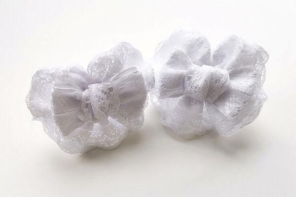 Детский бантик Анет 2.0 белый с кружевом