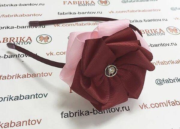 Ободок для волос Корсика бордовый с розовым