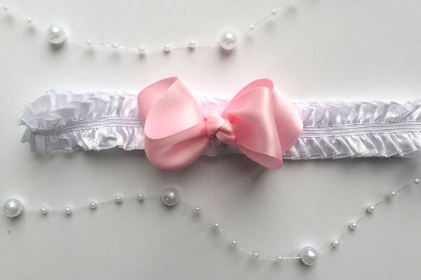 Повязка для волос розовый бантик