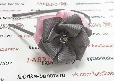 Ободок для волос Корсика серый с розовым