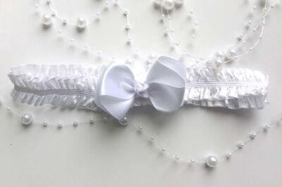 Повязка для волос белый бантик