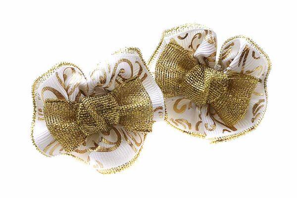 Детский бантик Анет 2.0 белый с золотом