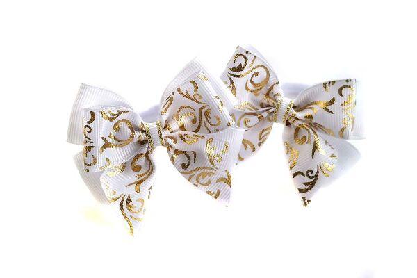 Бант для волос Маруся белый золото с узором