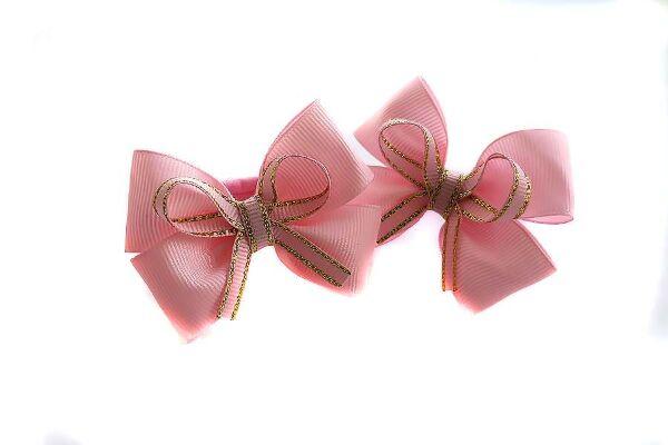 Детский бантик Ася розовый с золотом