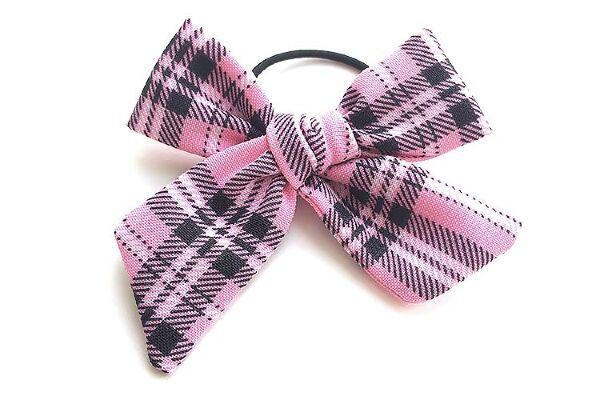 Бант для волос из ткани розовый