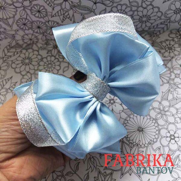 Бант большой Флоренция голубой с серебром