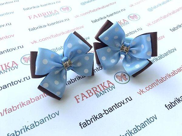 Бантик для девочек Юкка голубой в белый горох