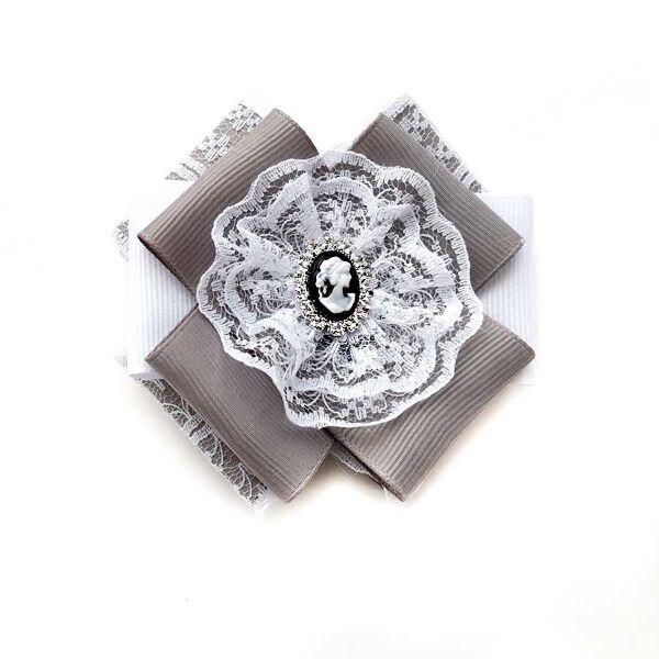 Брошь - галстук Гимназия серый