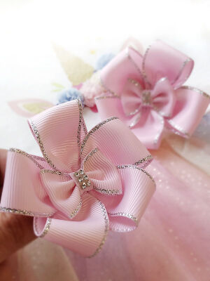 Бант Карусель 2.0 розовый с люрексом