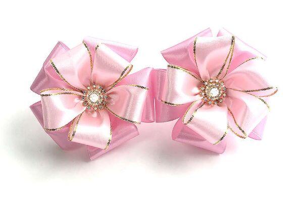 Красивый бант Афродита розовый с золотом