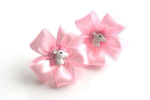 Детский бантик Карусель розовый с лошадками