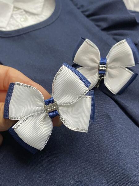 Бант школьный Радость синий с белым верхом