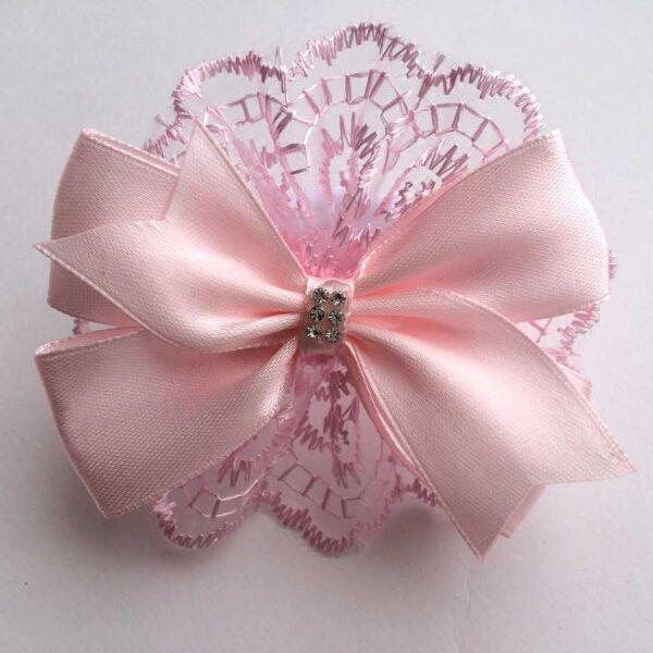 Атласный бантик Селена розовый с розовым кружевом