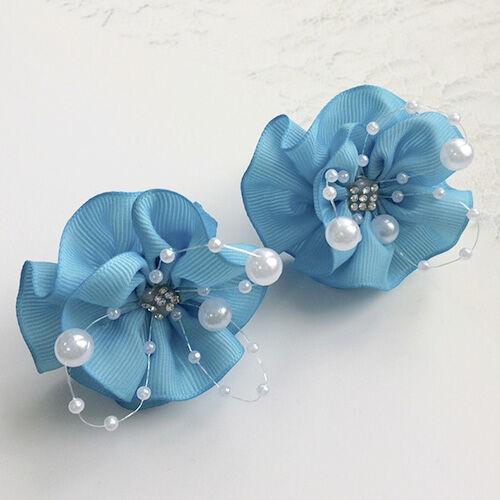 Бант для волос Вальс голубой с бусинами