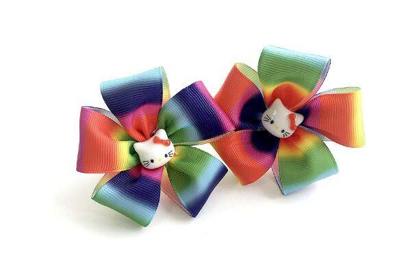 Детский бантик Карусель радуга с кошками