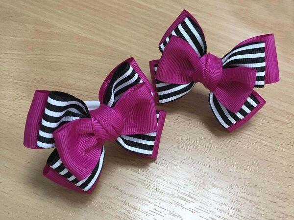 Бантик для девочек Гаити розовый с черным в полоску