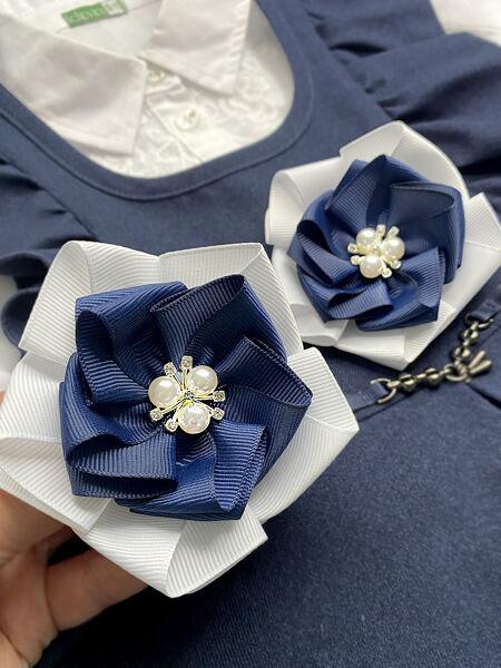 Бант для волос Сакура синий с белым