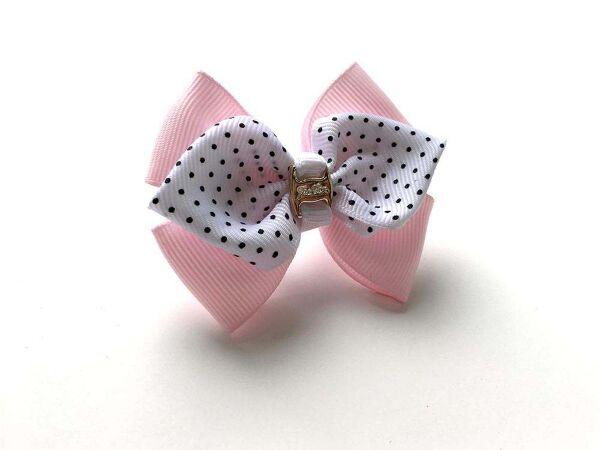 Бантик для волос Винтик розовый с белым в горох