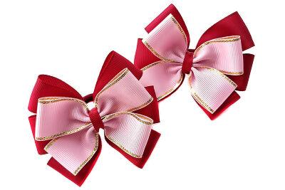 Бант Ярослава бордовый с розовым