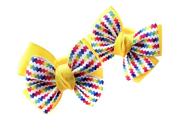 Бантик для волос Малышка желтая с разноцветным верхом
