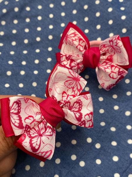 Бант Радость розовый с бабочками