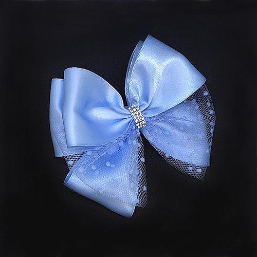 Красивый бант с фатином Париж голубой