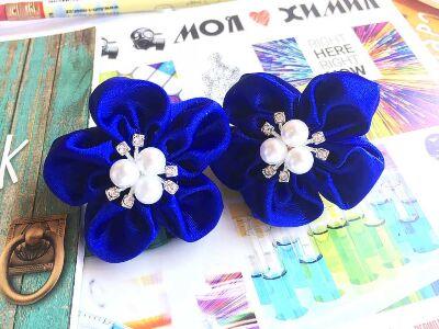 Бант для волос Лютик синий