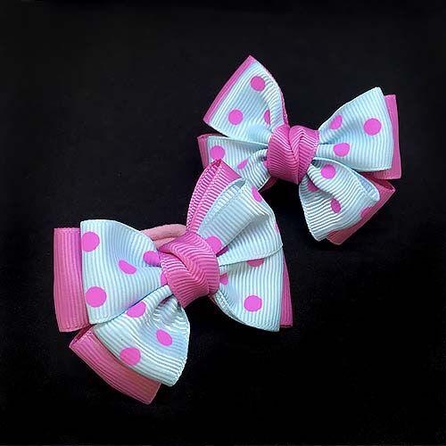 Бантик для волос Малышка розовый с горохом