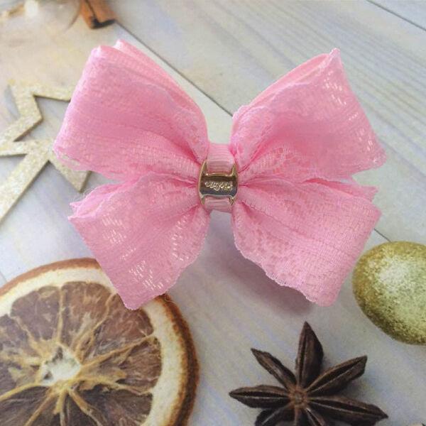 Бант из репсовых лент Кружево розовый