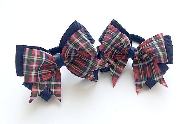 Бант для девочек Ассоль темно-синий с бордовым шотландка