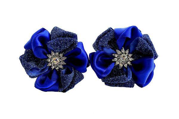 Бант для волос Татьяна синий с бархатом