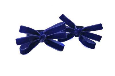 Бантик из бархата Паучок синий